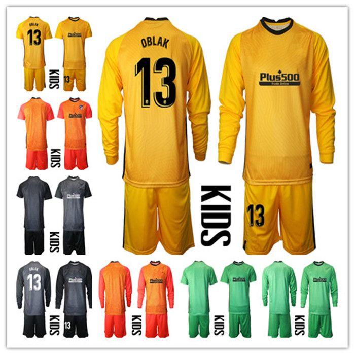 2020-2021 Niños de manga larga Adan Oblak Portero Jerseys Jóvenes Jóvenes Sistemas de fútbol N.º 13 de jan Oblak # 1 Adan Boys Kits Children Portero Uniforme