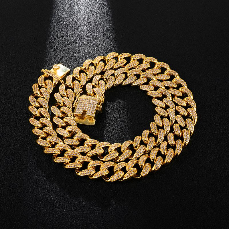 12mm 16-30inches Top Quality Bling Zirconia Iced Out Miami Cuban Chain for Men Women Hip hop Necklaces Jewelry