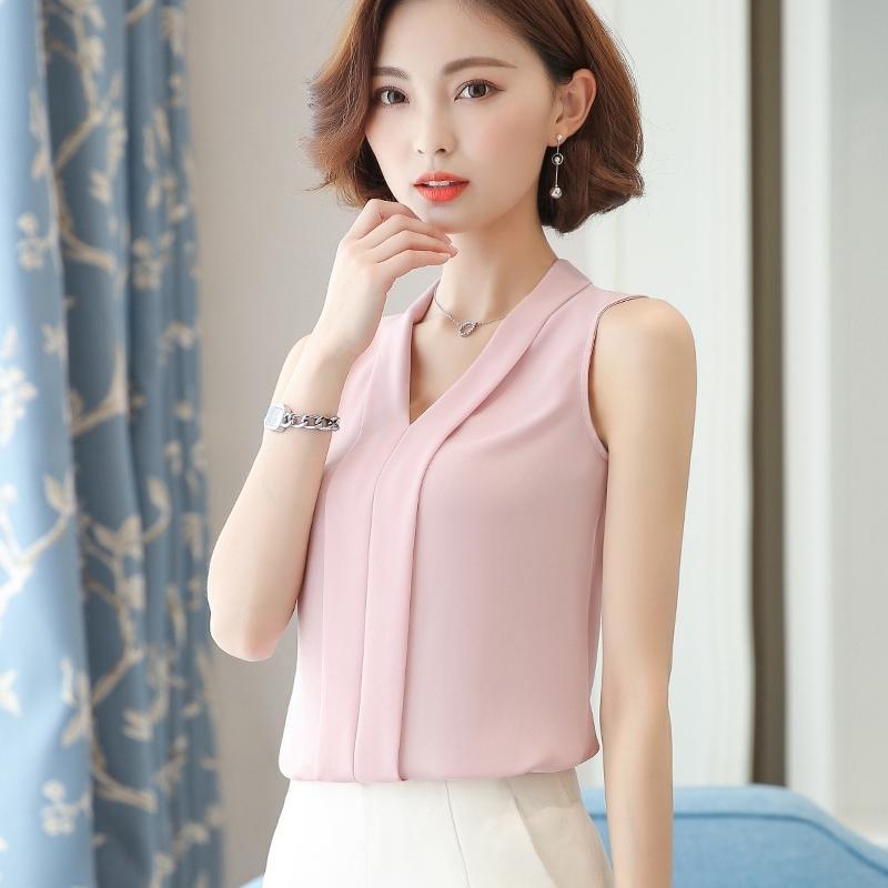 Женские топы и блузки шифоновые женщины блузки сплошные летние без рукавов белые женские рубашки корейский мода одежда плюс размер XXL Y200622