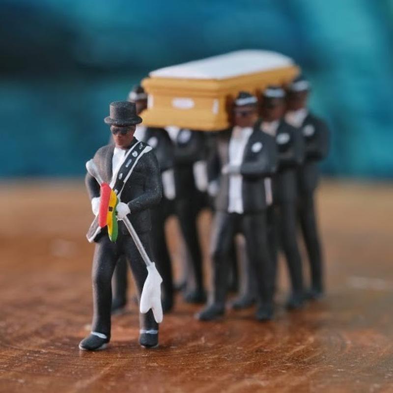 8 stücke Set Hot Fashion Blacks Tragen Sie das Sargteam Figure 10 cm Blacks tragen den Sarg PVC Action Figure Sammlung Spielzeug 201202