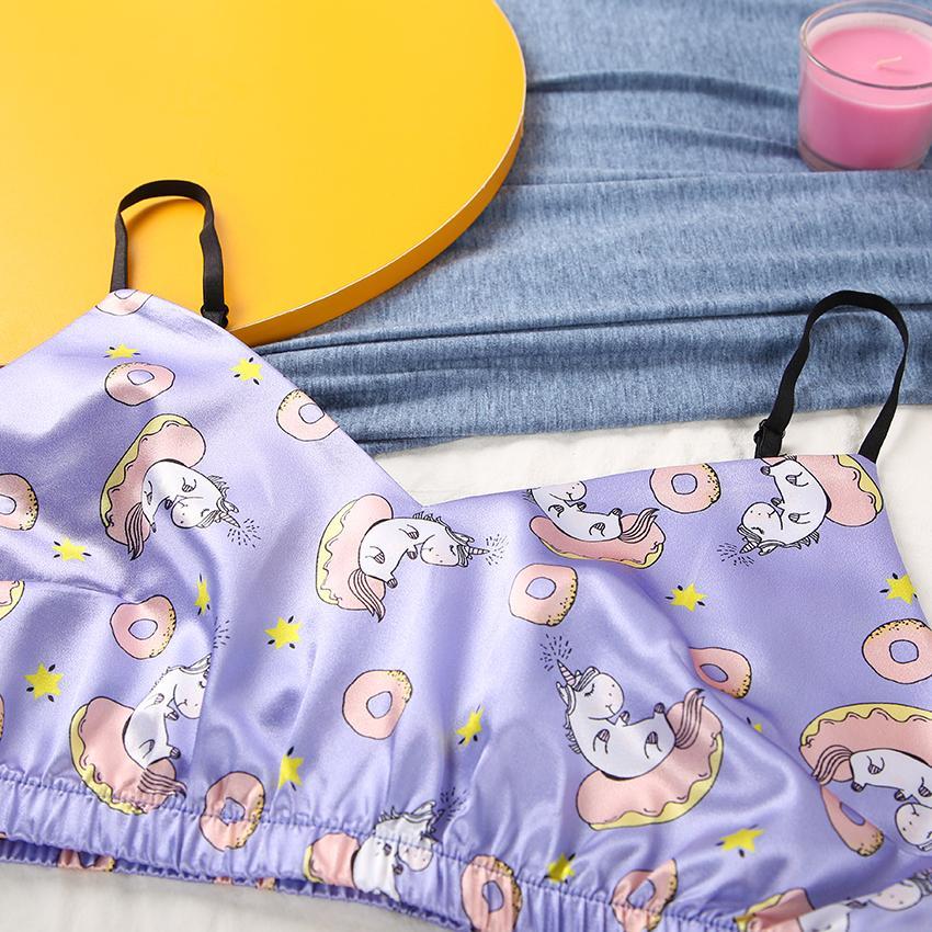 Heechan mignon beignets motif satin pyjamas femmes sexy V cou sans manches Sangle de Spaghetti Pantalon féminin Home Wear Public Casual Sleepwear Y0112