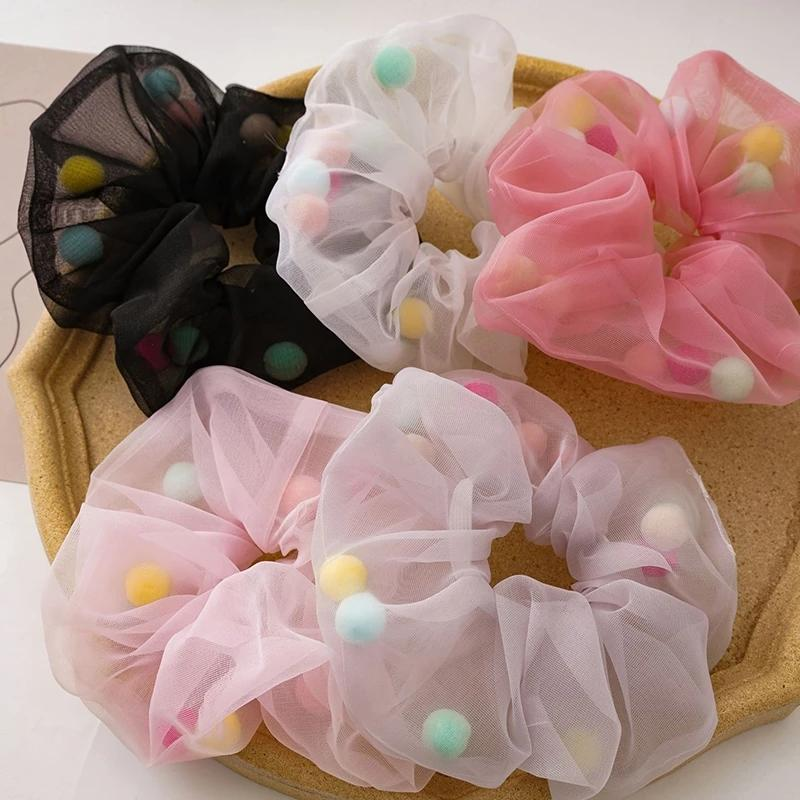 2021 Fairy Organza Hair Scrunchies With Rainbow Ball Women Elastic Hair Bands Girls Ponytail Holder Hair Tie Accessories