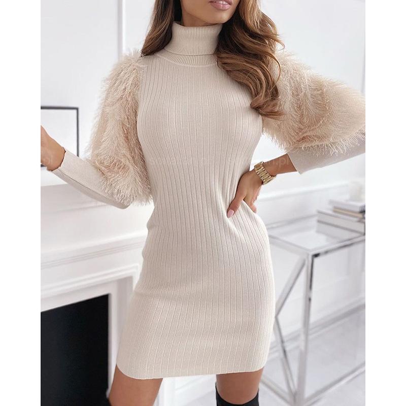 Kadınlar Sıkı Örgü Elbise Fener Uzun Kollu Patchwork Sonbahar Kış Katı Bej Balıkçı Yaka Sıcak Kadın Kazak Kazak SJ7416C