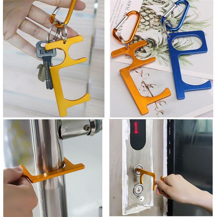 Ventas calientes 12 Estilo Metal Seguridad Táctil Menos Puerta Abre Archivo Llave Gancho Manos Manos Free Puerta Handle Stylus Llavero T9I00349