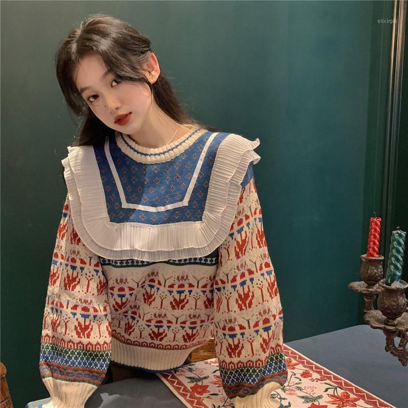 Mujer suéter otoño e invierno nuevo vintage estilo japonés suelto jersey cuello redondo con volantes diamante jacquard dulce punto top1