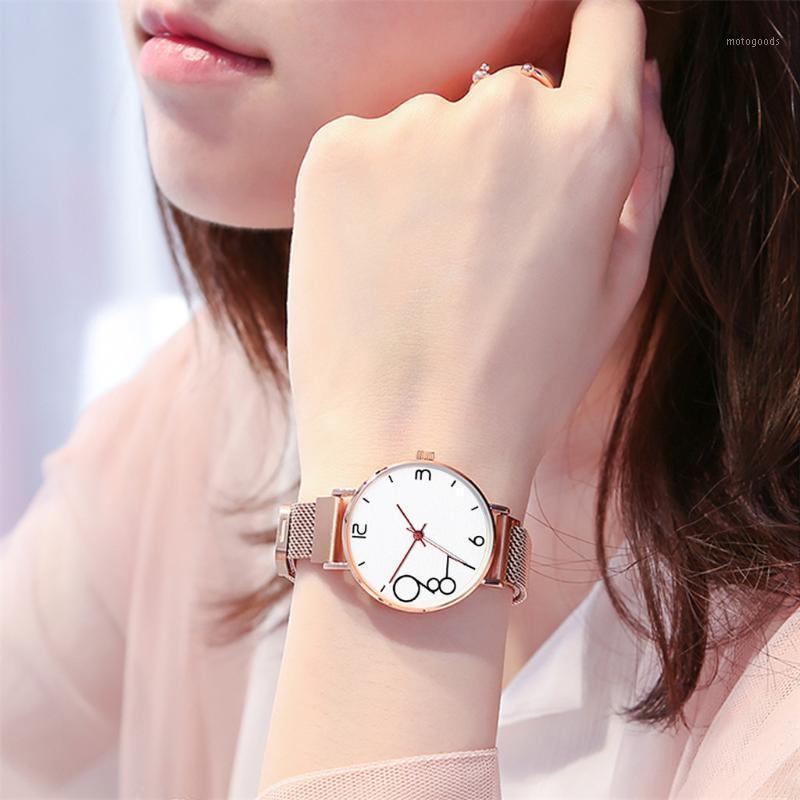 Wristwatches Fashion Women's Magnet Buckle Mesh Belt Watches Quartz Analog Round Wrist Watch Orologio Donna Ceasuri Zegarek Damski &501
