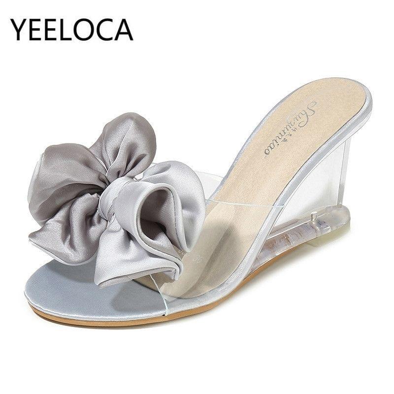 Yeeloca женские высокие каблуки летние дикие женские сандалии простые лук-узлы клина прозрачные тапочки роскошные туфли женщин дизайнеры Y200628
