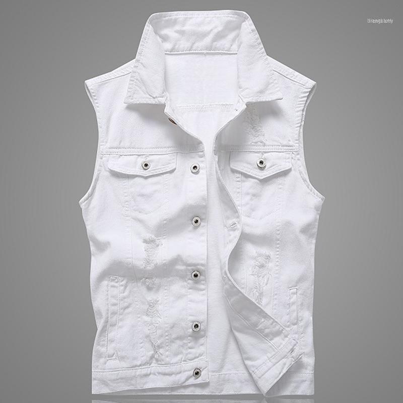 Buraco denim waistcoat homens jeans branco colete sólido coletes de rocha para homens modas verão sem mangas jaqueta 5xl punk biker rasgado11