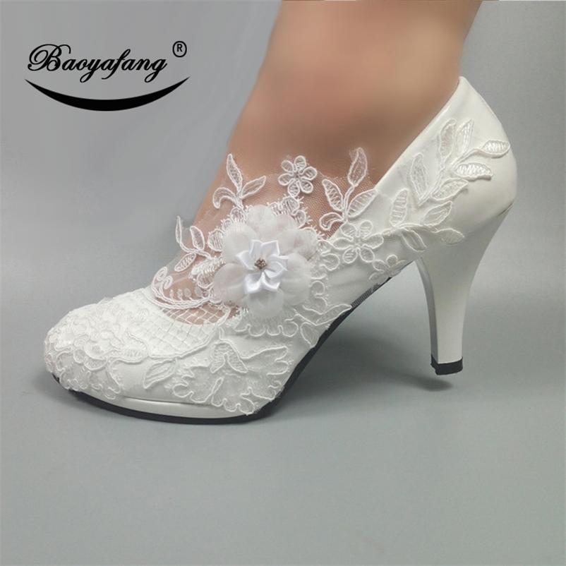 Baoyafang Bombas de flores blancas Nueva Llegada para mujer zapatos de boda novia zapatos de plataforma de tacones altos para mujer zapatos de vestido de fiesta para mujer 201215