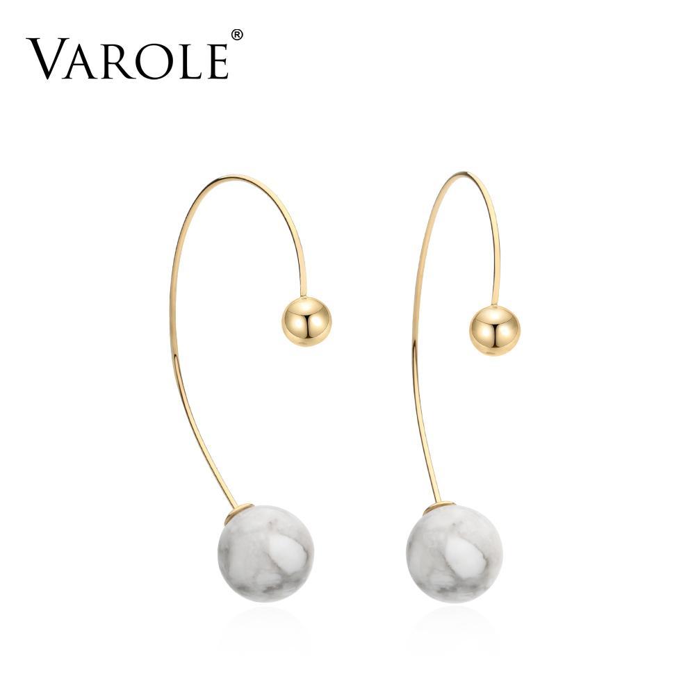 VAROLE Hypoallergenic Dangle & Drop Turquoise ball Earings Gold Color Stainless Steel Earrings for Women Jewelry Oorbellen Wholesale