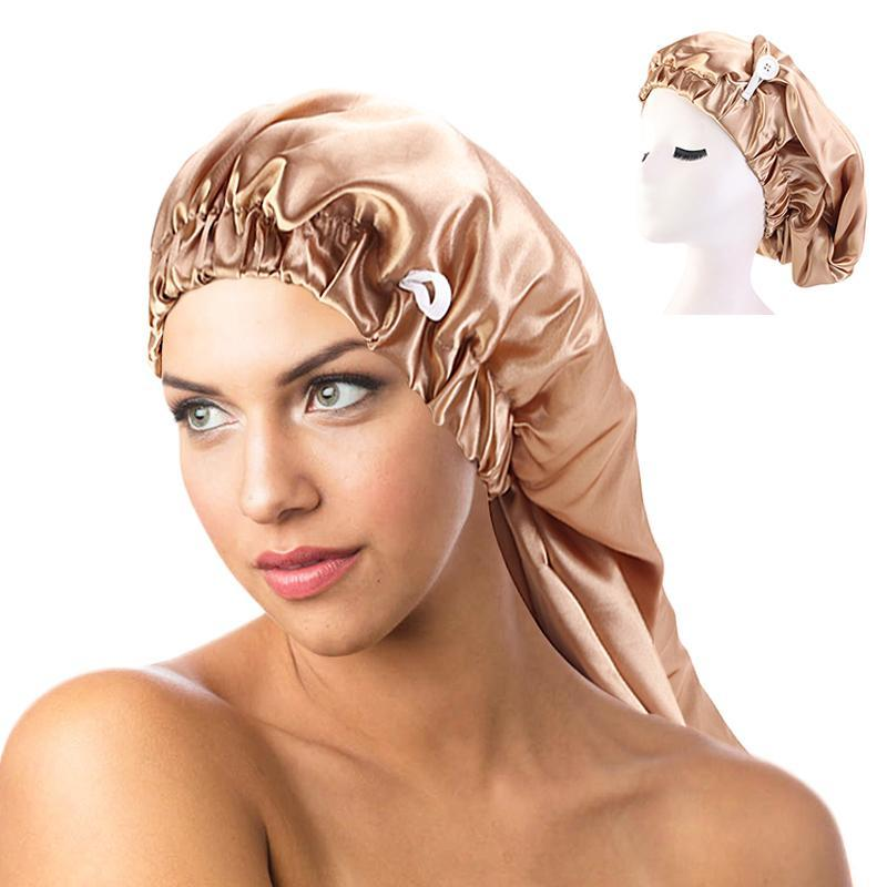 Neue lange Satin-Motorhaube Schlafkappe mit Knopf Hohe elastische Haarband Nachtkappe Haarpflege Bonnet Nightcap für Frauen Männer Chemo