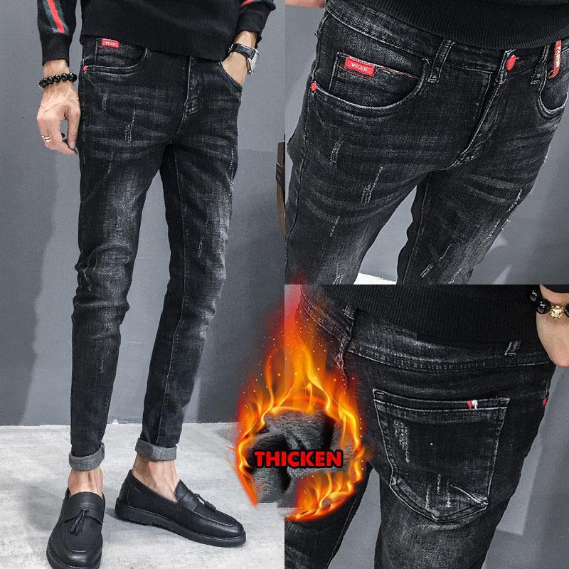 Hot 2019 осень осень зима термальные мужские модные корейские плюс бархат молодежь тонкий карандаш ноги повседневная тощие джинсы мужчины длинные брюки