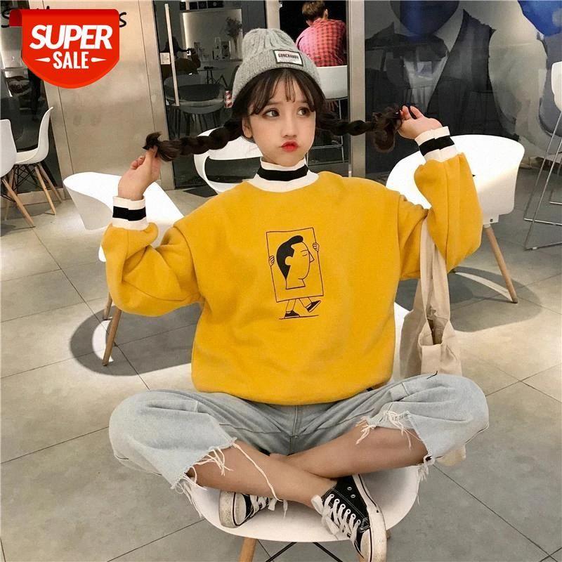 Sweats à capuche Femme Belle dessin animé Turtleneck chic épaisseur chaude chaude Soft coréen Style All-match Sweat-shirt Womens Ulzzang harajuku # G37i