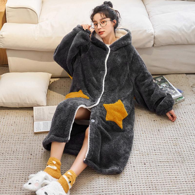Ladies Winter Warm Fleece Blanket With Sleeves Outdoor Hooded Warm Soft Hoodie Slant Robe Bathrobe Sweatshirt Pullover