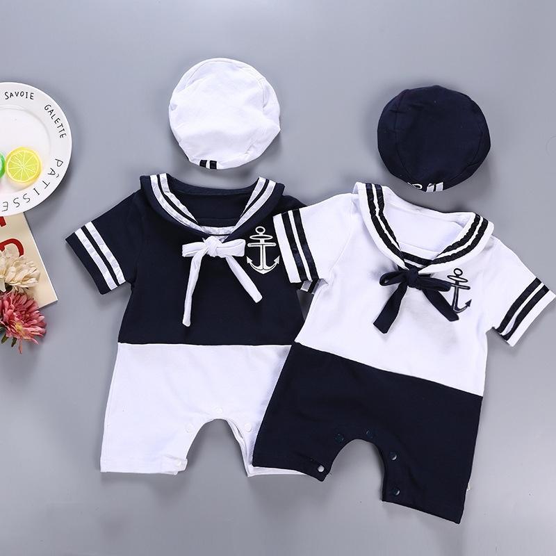 Baby Junge Mädchen Baumwolle Outfit Sailor Navy Stil Hut + Strampler Kurzarm 2 stücke Set Overall Infantil Sommer Geburtstagskleidung 3-6-12m 201127