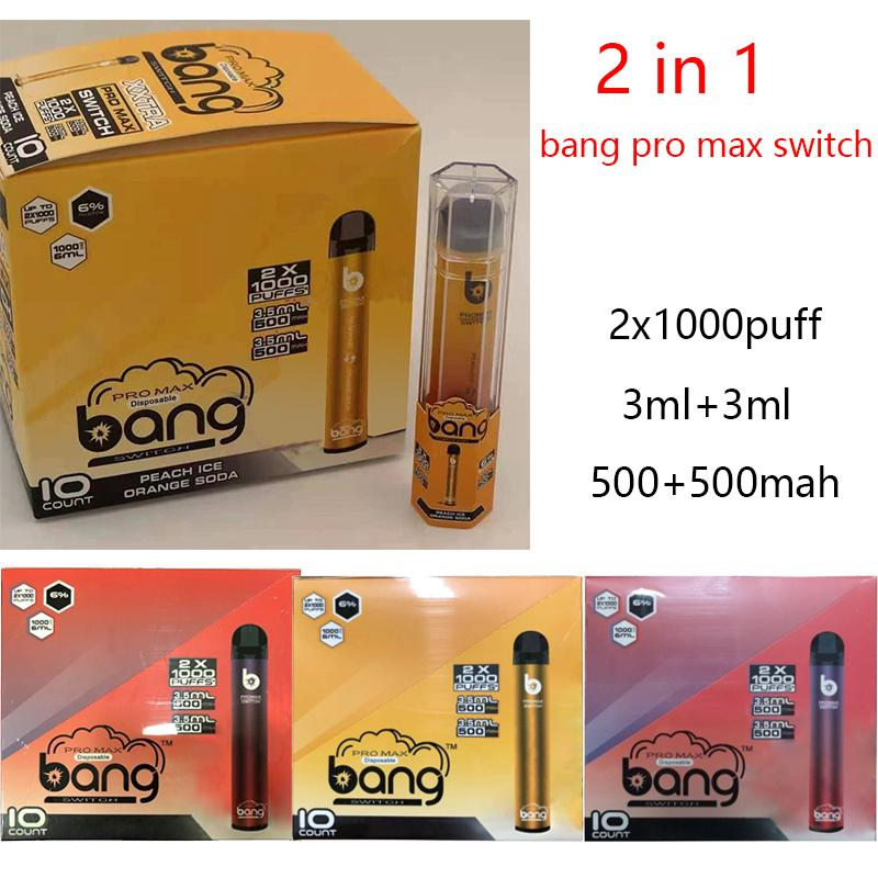 Bang Pro Max Interruptor 2 em 1 Device Pod descartável Vape Pen Kit 1000 + 1000Puffs 1000mAh Bateria 6ml Kit DHL Grátis Vs XXL