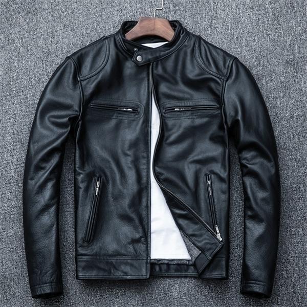Ree Shipping.wholesales.plus Größe Weiche Schaffelljacke, Männer Slim Echtes Leder Mantel.Biker Lederkleidung. Deutschland