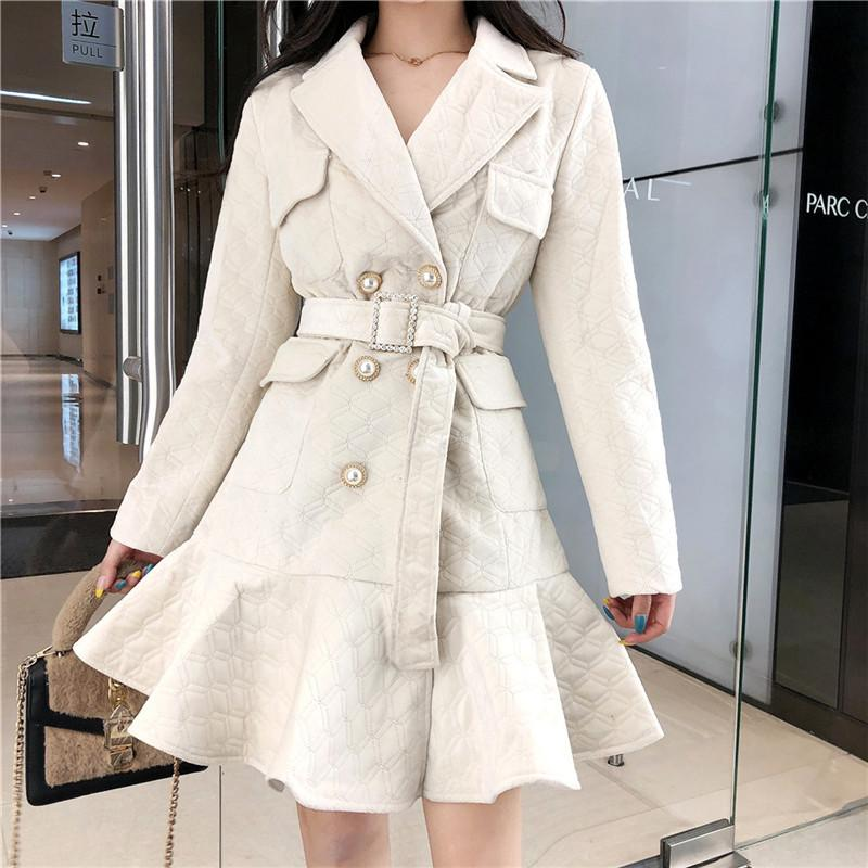 2021 Nouveau manteau de coton élégant chic coréen Mode double Parka Veste de ceinture 1ABB