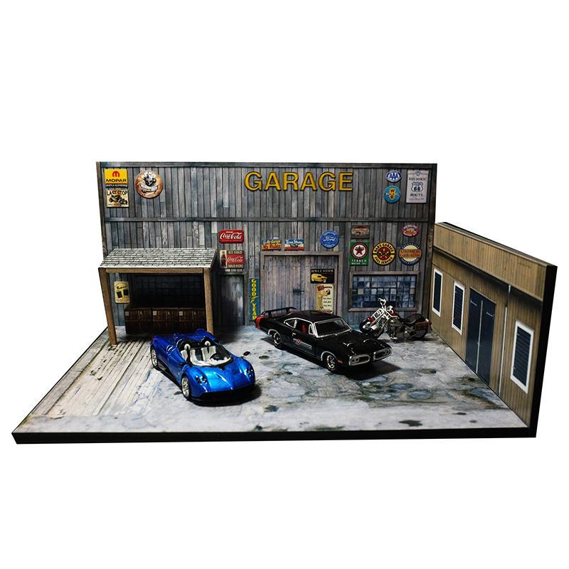 1/64 Garage Fabrik Warehouse Reparatur Haus Gebäude Modell Auto Fahrzeug Spielzeug Sammlung Parkplatz Szene Hintergrund Western Retro Y1201