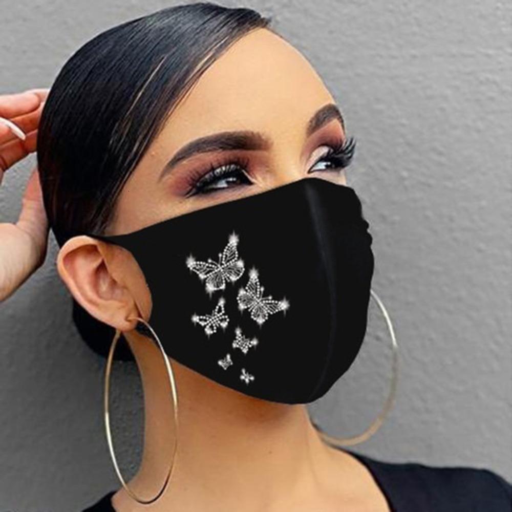 Rhinestone brillante mujer joyería mascarilla elástica mágica bufandas de moda reutilizable de moda lavable mascarillas de la cara Bandana C1