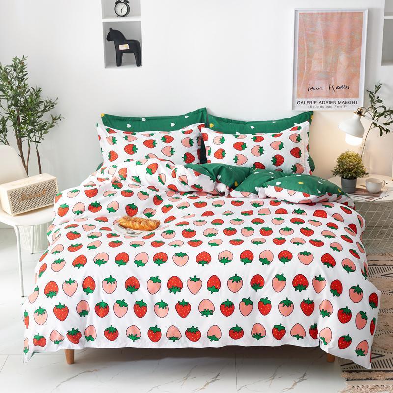 Strawberry bedclothes bedding set 2/3/4/5PCS bed sheet pillowcase & duvet cover set Mixed Color Cartoon Style