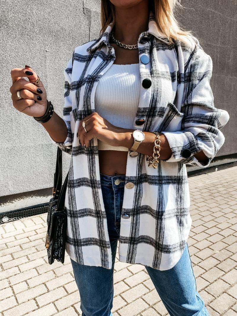 Giacca a plaid a maniche lunghe da donna autunno inverno inverno cappotto di grandi dimensioni 2020 moda allentato outwear vintage elegante top streetwear