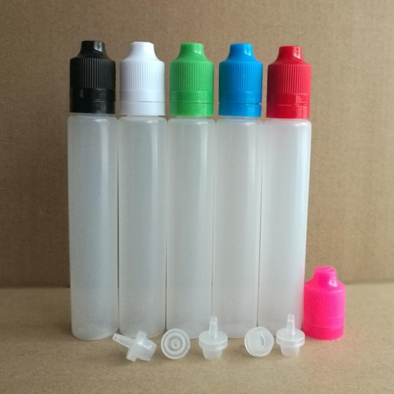 CIG E 30ML Botella de líquido vacío con gotero largo estilo PE Botella de plástico suave de plástico con tapa impermeable de manipulación