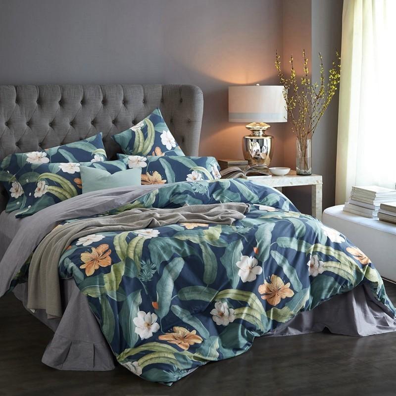 Couverture de couette florale botanique Ensemble King Queen vibrant fleur arbre feuilles imprimées 100% coton literie ensemble avec taie d'oreiller en tôle de lit