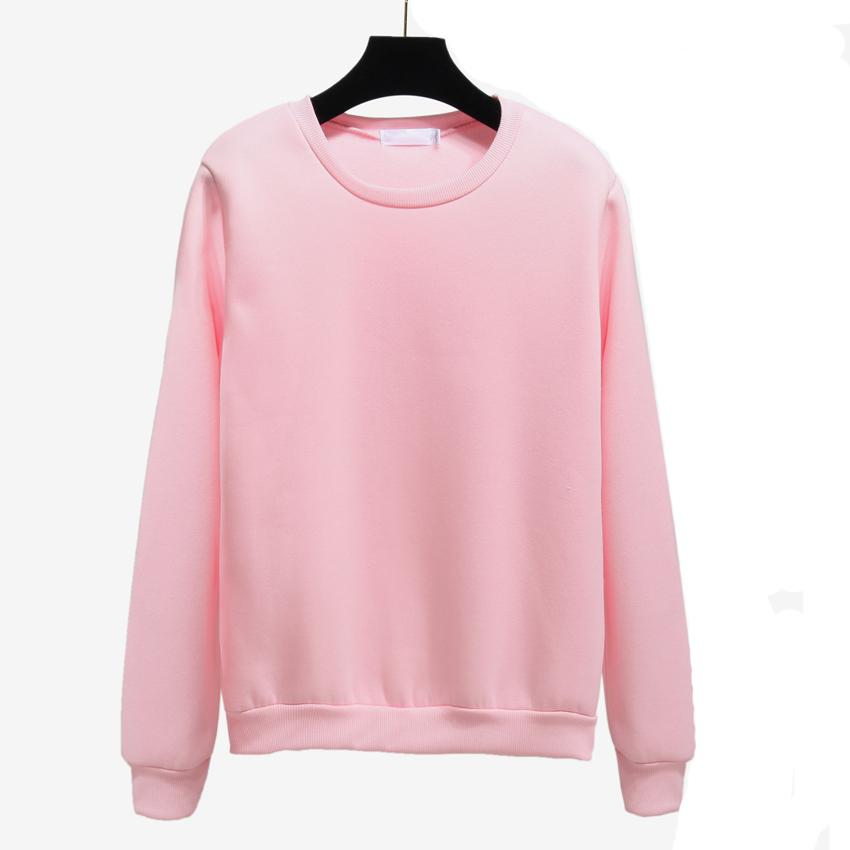 Simple solid color Harajuku Pullover Female autumn Winter Fleece Pink Thick Loose hoody Women Sweatshirt Casual long sleeve F1204