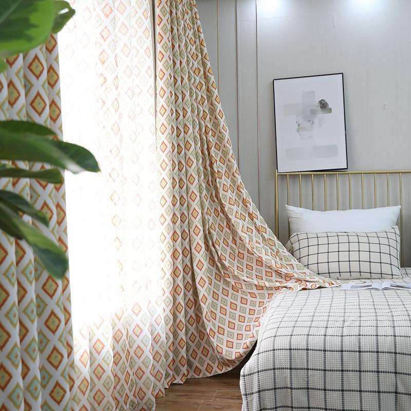 Оранжевые алмазные занавески для гостиной ткани современные простые европейские шторы для спальни полиэстер высокое лание