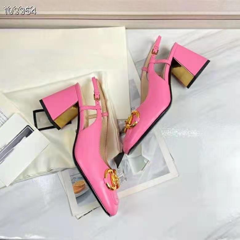 Mercancías de lujo de nombre grande europeo, zapatos de mujer de nuevo estilo, zapatos de tacón alto, sandalias de moda, zapatos formales, cuero genuino, desgastadas