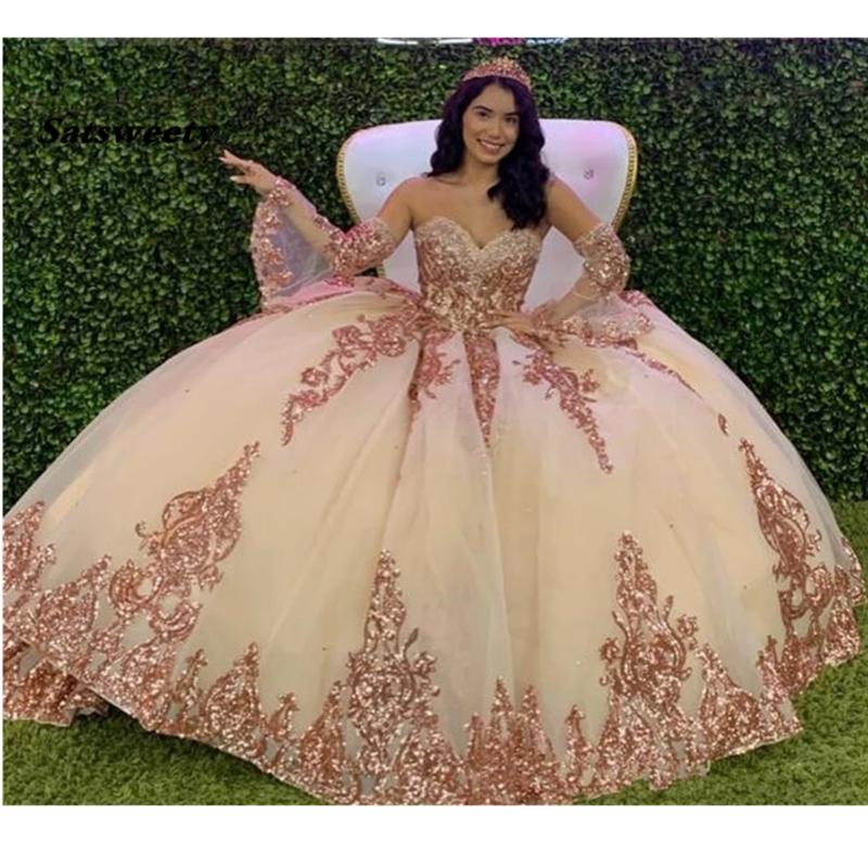 Rose Gold Sparkly Quinceanera Prom Dresses 2021 Modern Sweetheart Lace Applique Sequins Ball Gown Tulle Vintage Evening Party