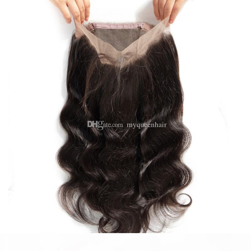 My Queen Virgin Human Hair Hd 360 Chiusura del merletto Onda del corpo frontale con i capelli del bambino sembra una parte gratuita molto natral