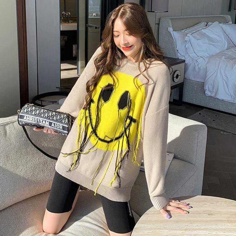 2021 New Smiley Face Female Nightgown Autumn/winter New Oversized Around Neck Knitted Upper Designer Clothes 9a70