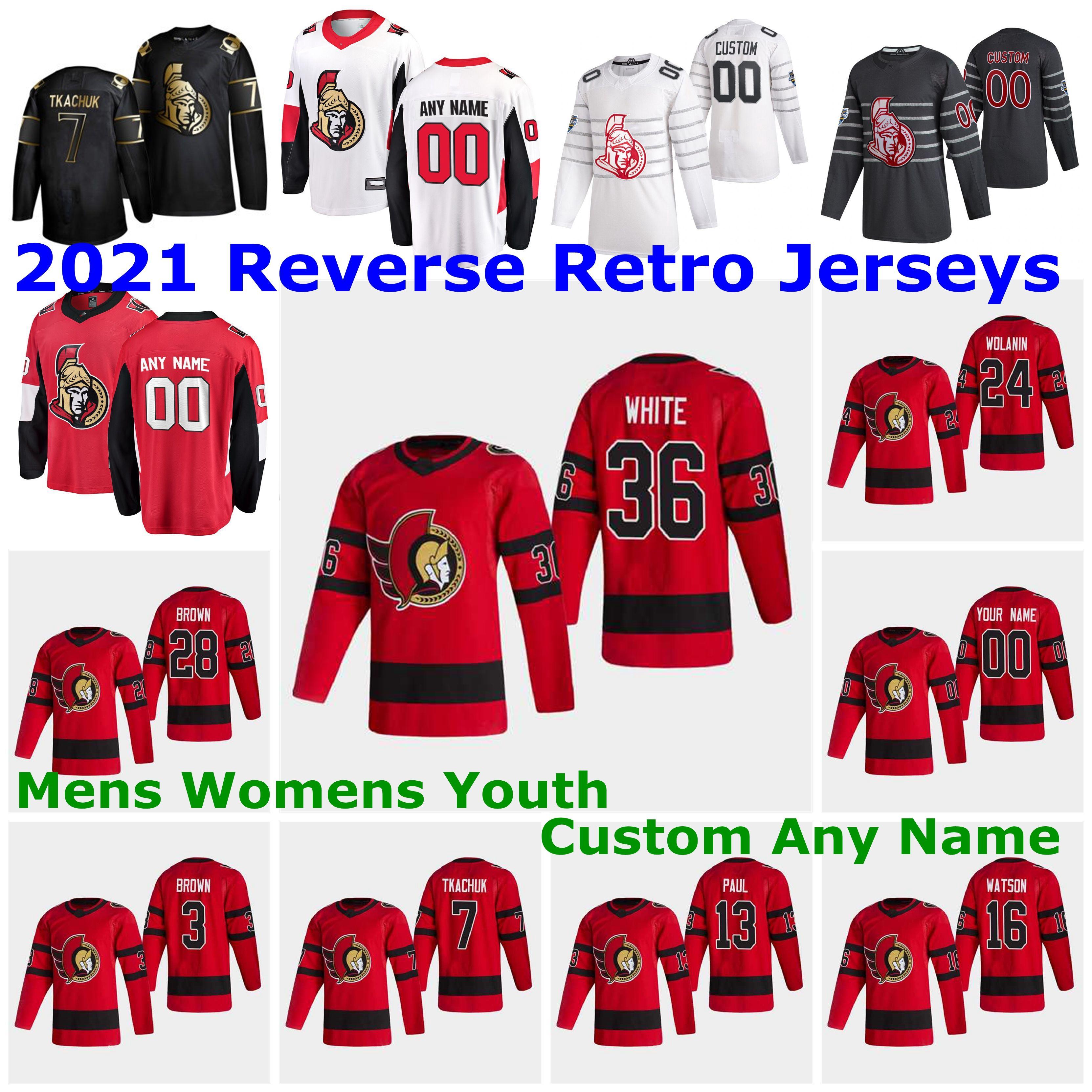 Ottawa Senators 2021 Reverse Retro Jerseys 95 Matt Duchene Jersey Mark Stone Artem Anisimov Rudolfs Balcers Mikkel Boedker Custom Stitched