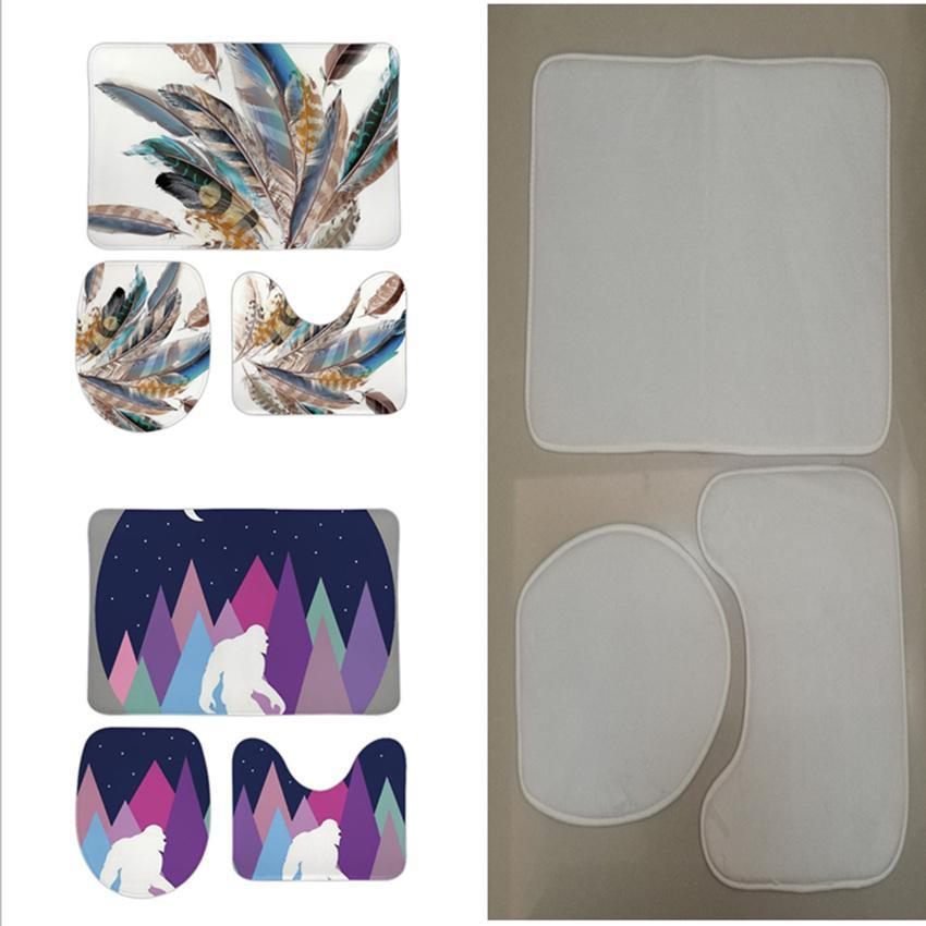 3pcs Sublimação Conjuntos de Banheiros Em Branco Mats Flannel WC Steat Pads Transferência Térmica Branco Capas Frete Grátis por Air A12