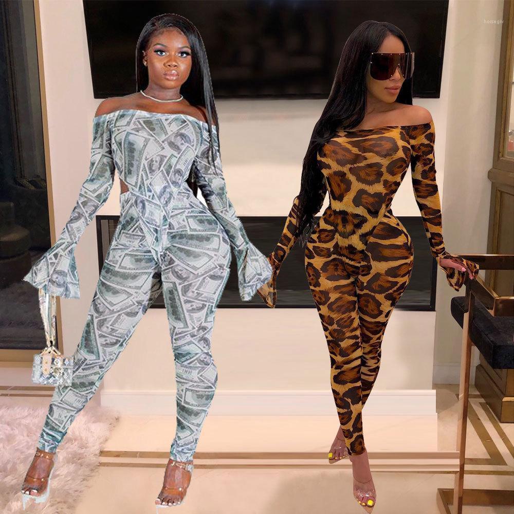 Giyim Seti Slash Boyun Çan Kollu Hayvan Baskı Pantolon 2 adet Set Moda Casual Kadın Giyim Bayan 2 Parça