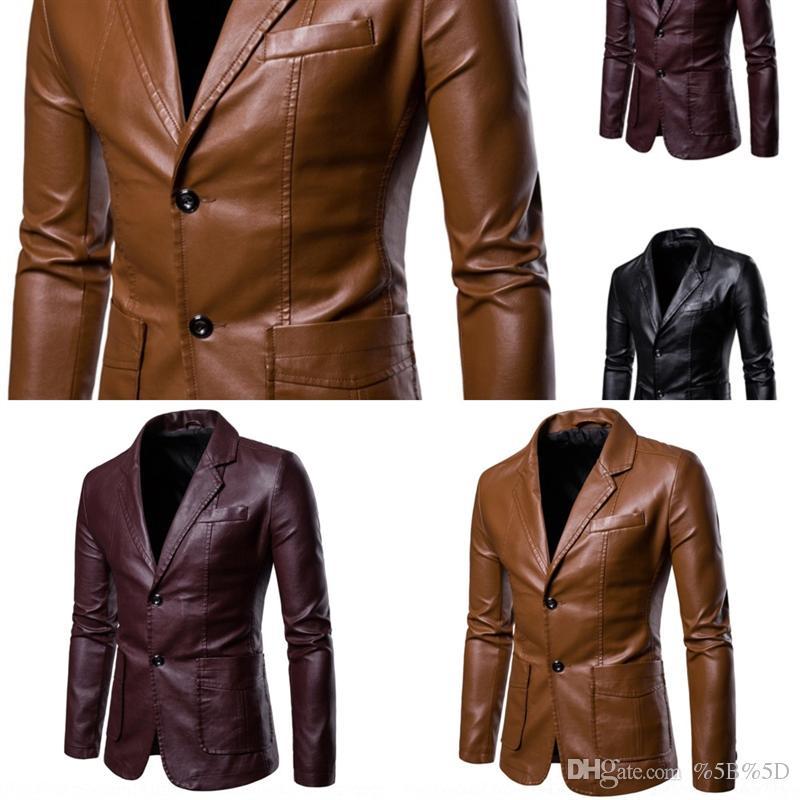 F3W7 мужской зимний толстый флис из искусственных кожаных куртков