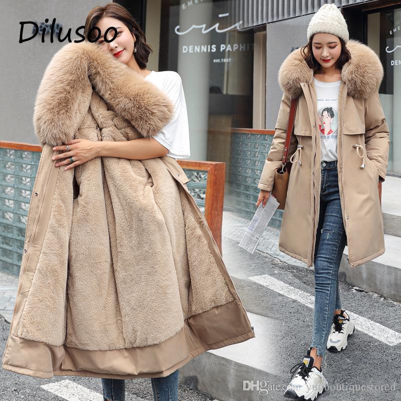 Dilusooo 2020 хлопковый лайнер Parker мода регулируемый талия меховой воротник зимняя куртка женщин сплошной длинный с капюшоном парку