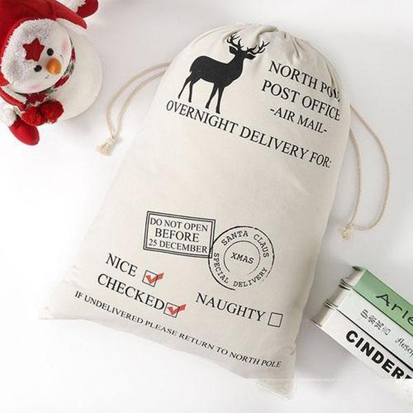 Santa sacos de santa claus bolsa de navidad bolsas de regalo de lona cordón algodón santa presente bolsas de Navidad decoraciones año nuevo regalo 0011chr