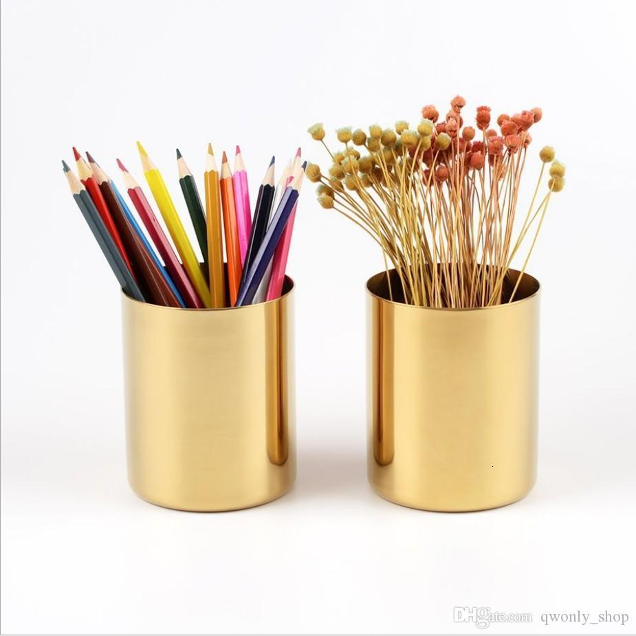 400 ml Pirinç Altın Vazo Paslanmaz Çelik Silindir Kalem Masa Organizatörleri Için Çok Kullanımlı Kalem Pot Tutucu Kupası