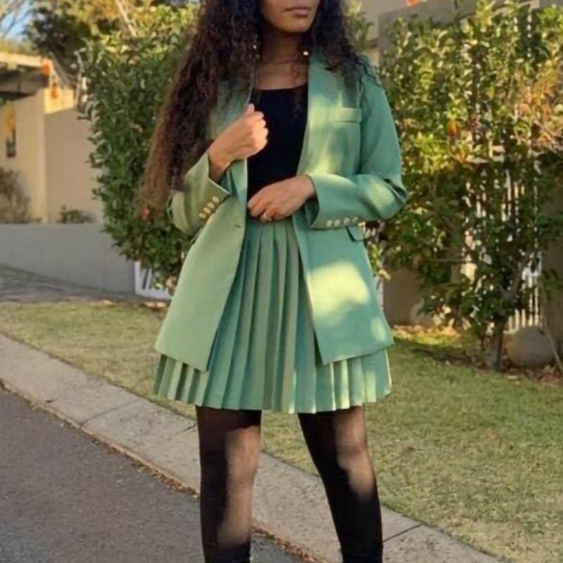 Donne 2 pezzi Suit Skirt Solid Colour Colletto Colletto a maniche lunghe e mini gonne pieghettate Abiti 2021 Ufficio femminile Signore Nuovo
