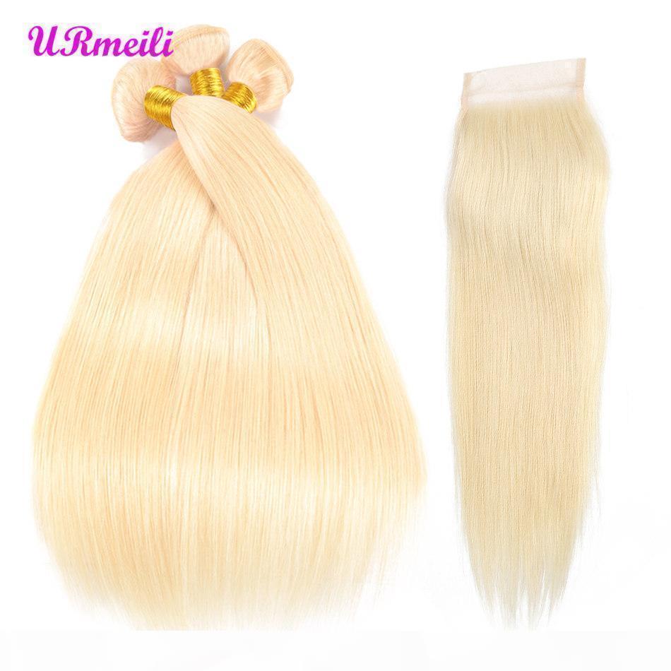 Gerade reines Haar 613 Blonde Bündel mit Schließung Brasilianische Haarwebart Bündel mit Verschluss Geraden Menschenhaarbündel mit Verschluss Remy