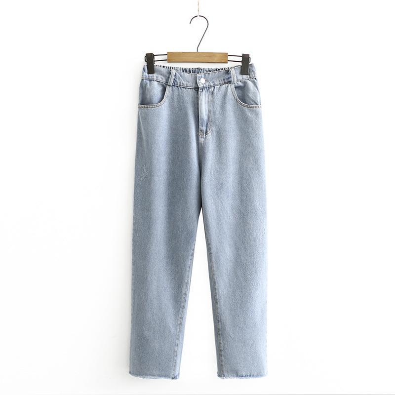 XL-4XL плюс размер эластичная талия высокая женщина синие джинсы повседневные джинсовые штаны тонкие 89GU