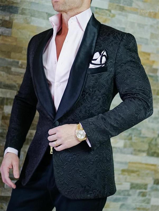 Мужские костюмы Blazers Custom Maste Groomsmen Shawle Satin Отворотный жених Смокинги Чернокожие мужчины Свадьба / PROM MAN BLAZER (Куртка + брюки галстуки) Z61