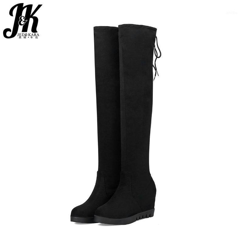 Çizmeler JK Kış Kadın Diz Üzerinde Streç Yuvarlak Burun Sürüsü Ayakkabı Yüksek Topuklu Kürk Kadın Eklemek Ayakkabı 2021 Siyah1