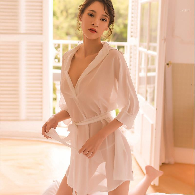 Black Bianco Sleepwear Sheer Garza Mid-Night Charming Sexy NightGowns Donna BF Style Style Style Dress Dress Lingerie1