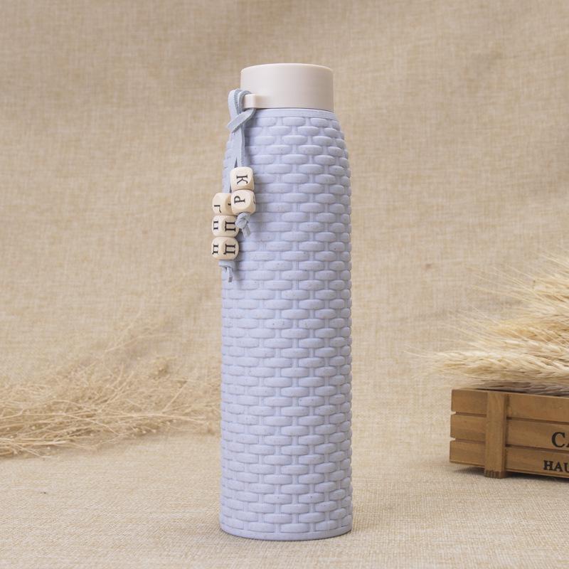 Стеклянная чашка Высококачественные аналогичные ротанга мода двойной слой изолированные подарочные чашки студент портативные бутылки с водой большой емкости открытый CCD3531