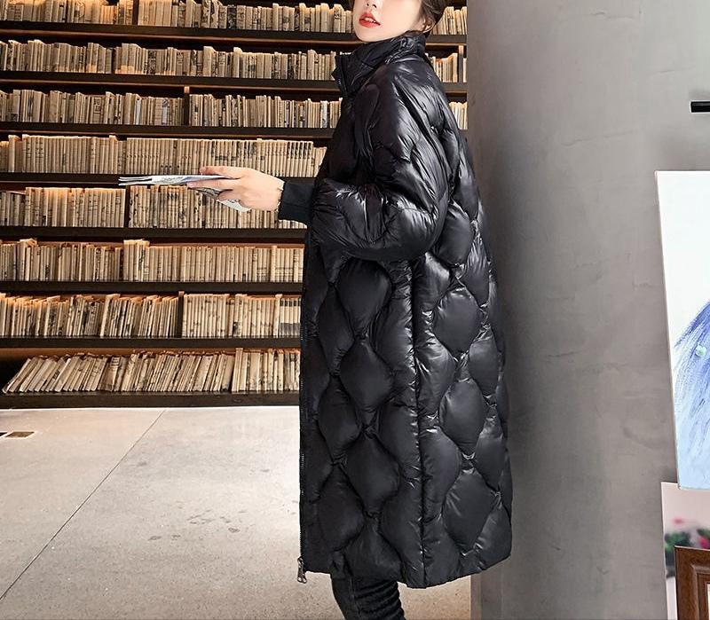 Хлопок, мягкое длинное пальто для женской стойки ошейник дизайн длинные длины Parkas мода и личность утолщение типа свободного пуховики