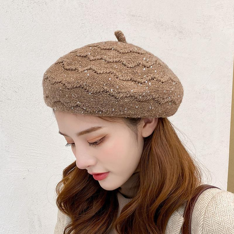 Women Beret Autumn Winter Warmth All-match Crimped Sequin Knitted Hat Pure Color Korean Version Ladies Caps